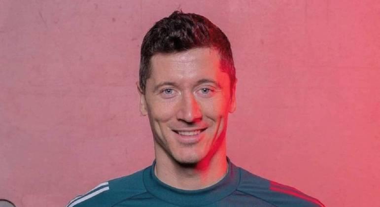"""O jogador Robert Lewandowski, do Bayern de Munique, vencedor da """"Liga dos Campeões"""""""