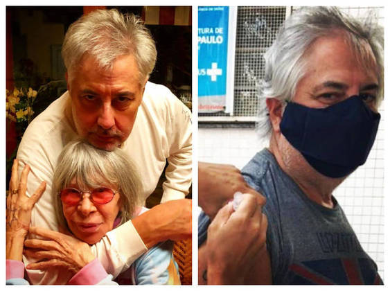 Rita Lee usou as redes sociais para celebrar a imunização do marido, Roberto de Carvalho, contra acovid-19. O cantor e compositor de 68 anos recebeu a primeira dose da vacina no dia 5 de abril.