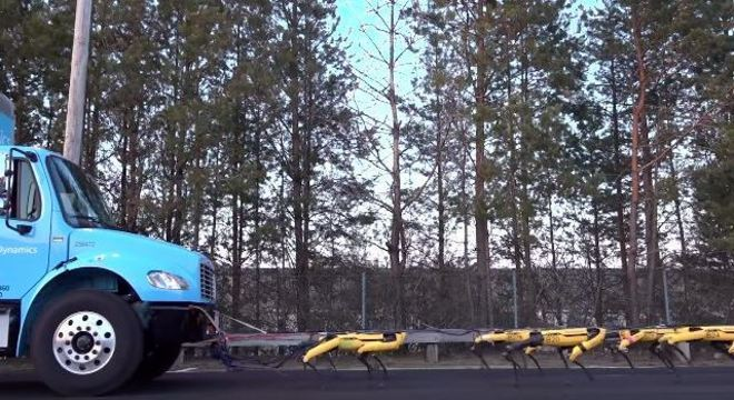 SpotMinis trabalham juntos para puxar um caminhão de toneladas
