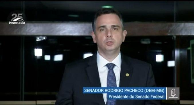 O presidente do Senado, Rodrigo Pacheco, durante entrevista