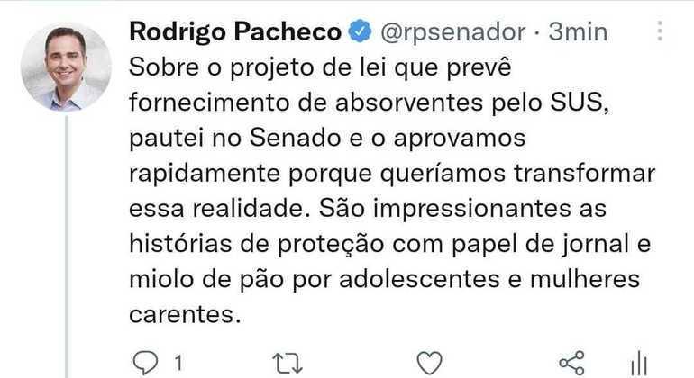 Pacheco lembra de rápida tramitação no Senado