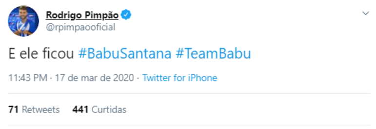 Rodrigo Pimpão, atualmente no CSA, também é #TeamBabu. O ex-jogador do Botafogo influencia 25,9 mil seguidores no Twitter e 117 mil no Instagram.