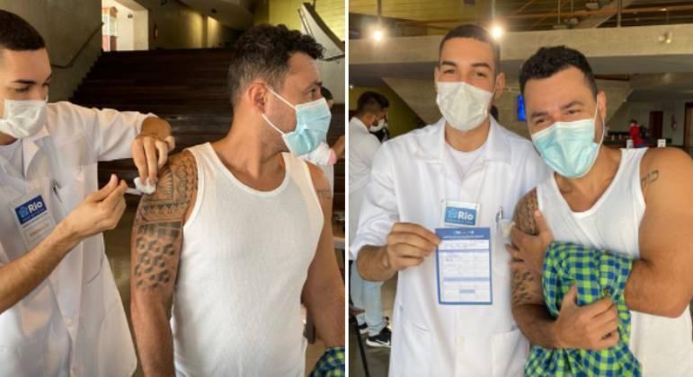 Após internação por covid, Rodrigo Sant'Anna recebe 1ª dose da vacina