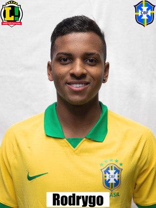 Rodrygo - 6,5: Entrou bem pela direita e participou diretamente do quarto gol, desviando a bola que tocou no zagueiro colombiano e entrou no gol.