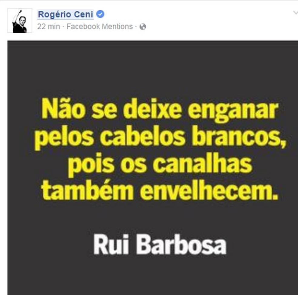 Rogério Ceni fez esta postagem, depois que Leco criticou seu trabalho