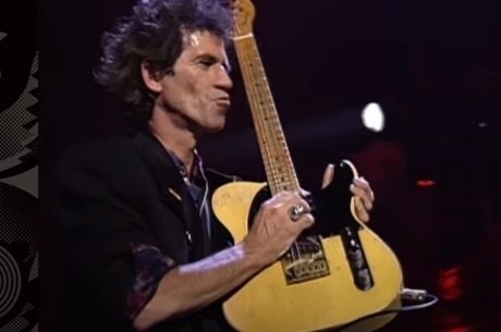 Keith Richards durante a turnê de 'Steel Wheels'