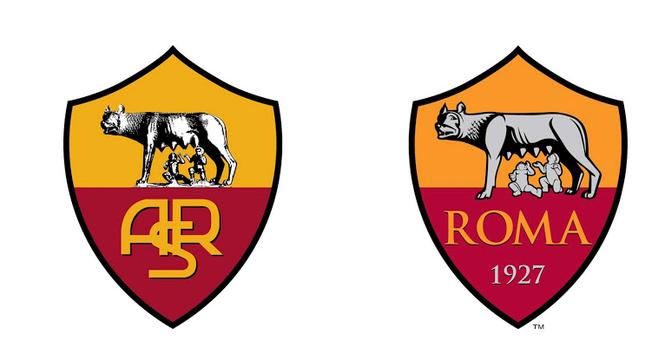 """Roma - Em 2013, a Roma redesenhou o escudo. A palavra """"Roma"""" substitui a sigla ASR, fortalecendo a ligação do clube com a cidade, enquanto o escudo agora porta a inscrição """"1927"""", ano de fundação da equipe. Já a """"Lupa Capitolina"""", loba que amamenta Rômulo e Remo, foi redesenhada"""