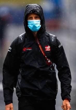 Romain Grosjean chegou preparado para um dia de chuva no Red Bull Ring