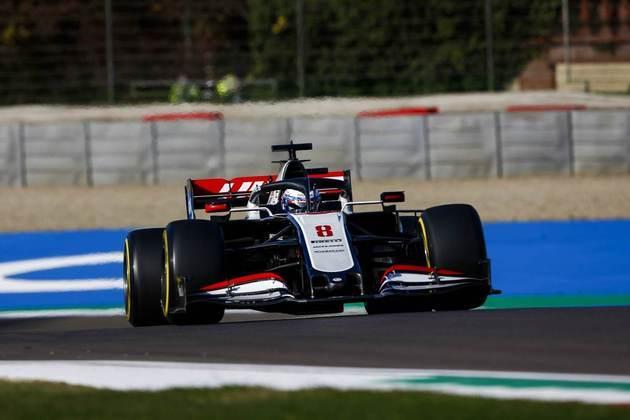 Romain Grosjean em ação na classificação em Ímola