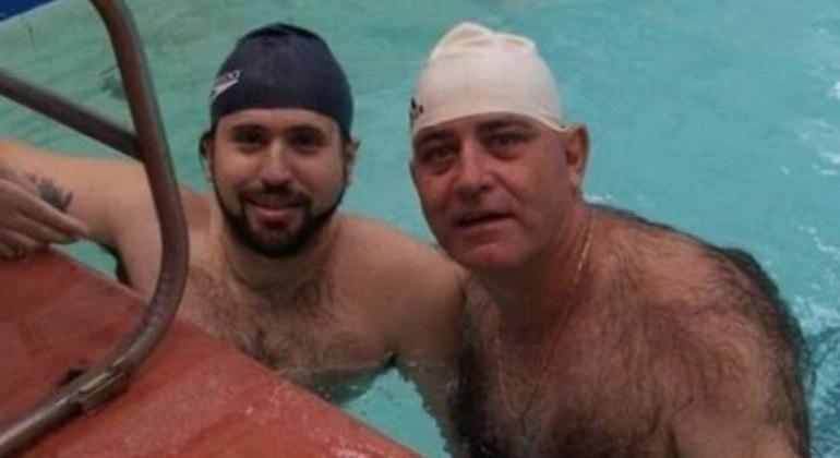 Ronaldo Silva, à direita, com o treinador Mitcho Bianchi