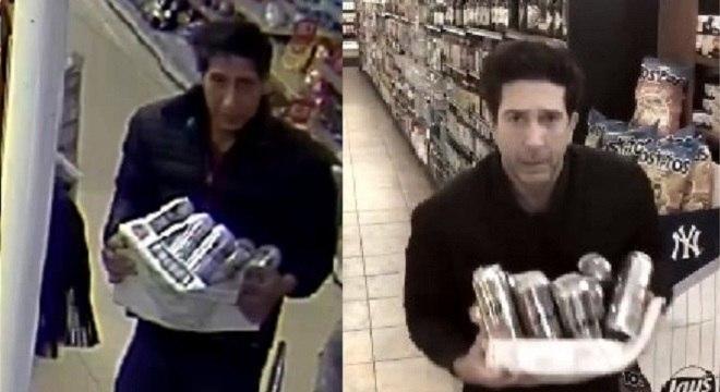 À direita, o 'Ross' da Inglaterra; à esquerda, ator da série imita o furto