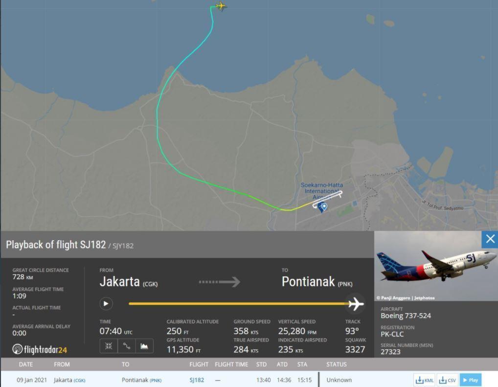 Imagem mostra a rota que a aeronave fez antes de perder contato com a torre de controle