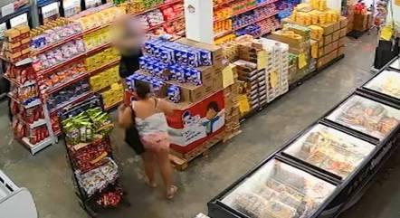 Suspeita foi flagrada por câmeras de segurança