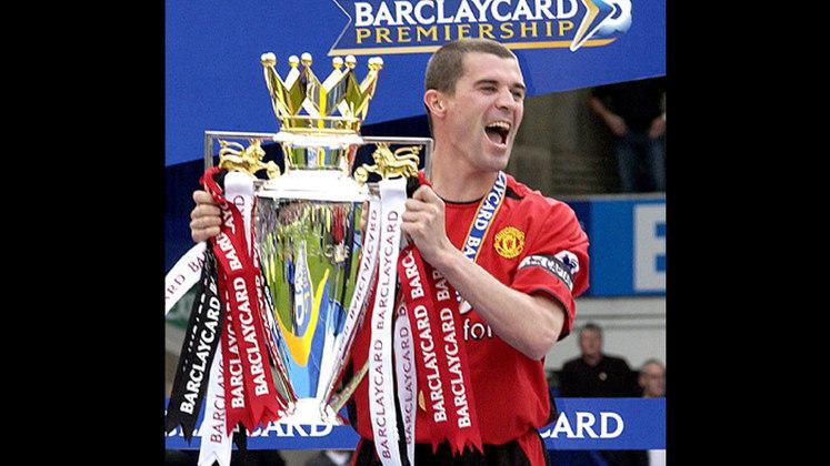 Roy Keane: Escolhido pelo voto popular para entrar no Hall da Fama. Clubes na Premier League - Nottingham Forest e Manchester United. Posição - Volante