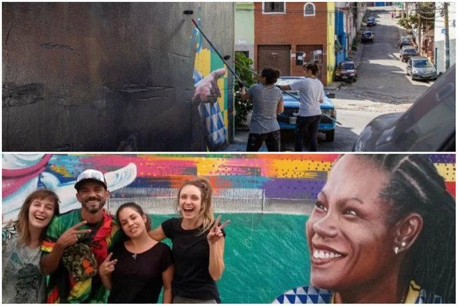Toda Copa do Mundo é igual, as ruas das cidades brasileiras ficam coloridas de verde e amarelo e com os rostos das estrelas do Brasil. No próximo dia 7 de julho, começa o Mundial feminino na França e moradores de uma rua na Brasilândia, bairro na zona norte de São Paulo, resolveu que as meninas também mereciam uma linda homenagem
