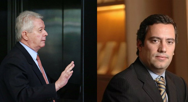 Rubem Novaes, futuro presidente do BB, e Guimarães, futuro presidente da Caixa