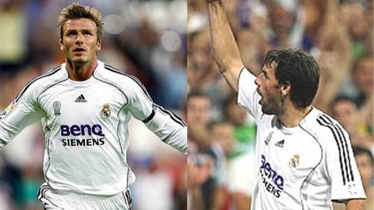 Ruud van Nistelrooy e Beckham: jogaram juntos no Manchester United e no Real Madrid.