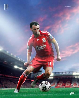 Ryan Giggs, ídolo do Manchester United, com a camisa do rival Liverpool.