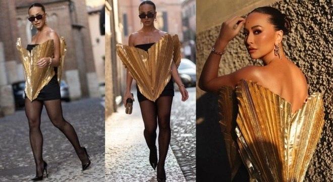 Sabrina Sato ousou ao usar o vestido em formato de coração e virou hit na internet.