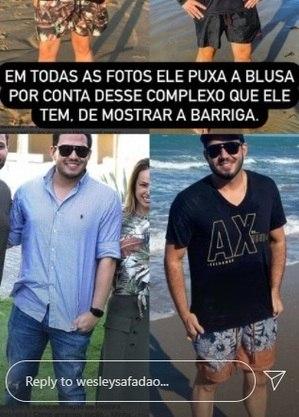 Safadão postou fotos para mostrar que o amigo costuma abaixar a camiseta