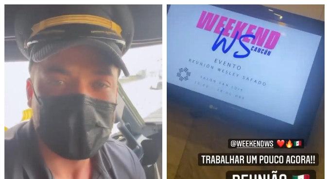 Safadão fez vídeos na aeronave e no hotel onde vai ficar hospedado