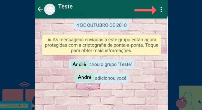 Abra o WhatsApp e selecione o grupo que queira sair. Toque nos três pontos do canto superior direto da tela para abrir as opçõesLeia também:Aprenda como excluir mensagens enviadas pelo Messenger