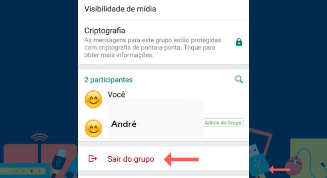 No final da página, a pessoa deverá clicar em 'Sair do Grupo'Leia também:Aprenda como usar o celular para substituir o seu título de eleitor