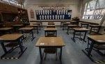 Sala de aula do colégio Humbolt, localizado na zona sul de SP. Mesmo sem definição para a volta às aulas, escolas particulares se organizam para receber alunos durante a pandemia.