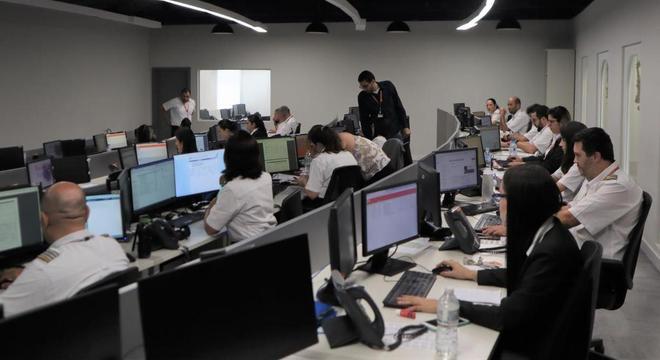 Sala de controle operacional da Gol Linhas Aéreas em São Paulo