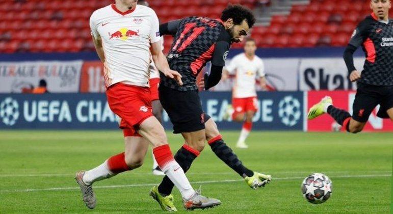 Detalhe do gol de Salah, Liverpool 1 X 0