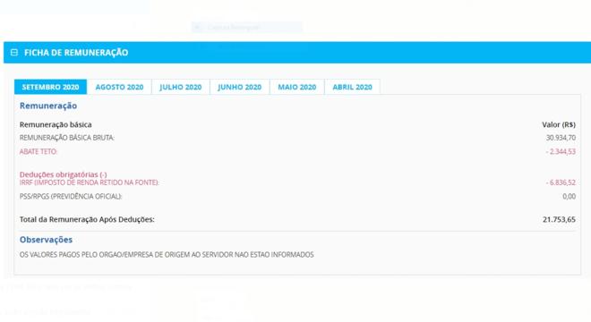 A ficha de remuneração do presidente da República mostra o salário líquido: R$ 21 mil