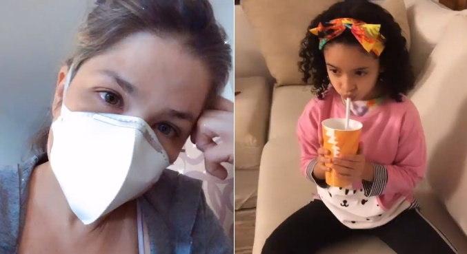 Lara, filha mais nova de Samara Felippo, foi liberada do isolamento contra a covid