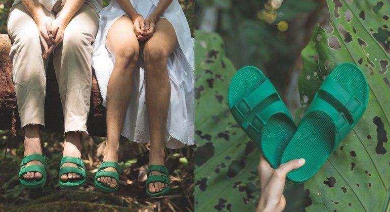 Sandália da coleção Linus Amazônia, que terá 100% dos lucros doados à OPAN