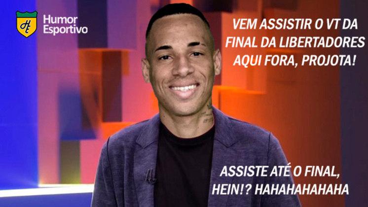 Santista, rapper entrou na casa antes da final da competição continental contra o Palmeiras. Eliminado do reality nessa terça-feira com 91,89% dos votos, Projota foi alvo de memes nas redes sociais. Confira! (Por Humor Esportivo)