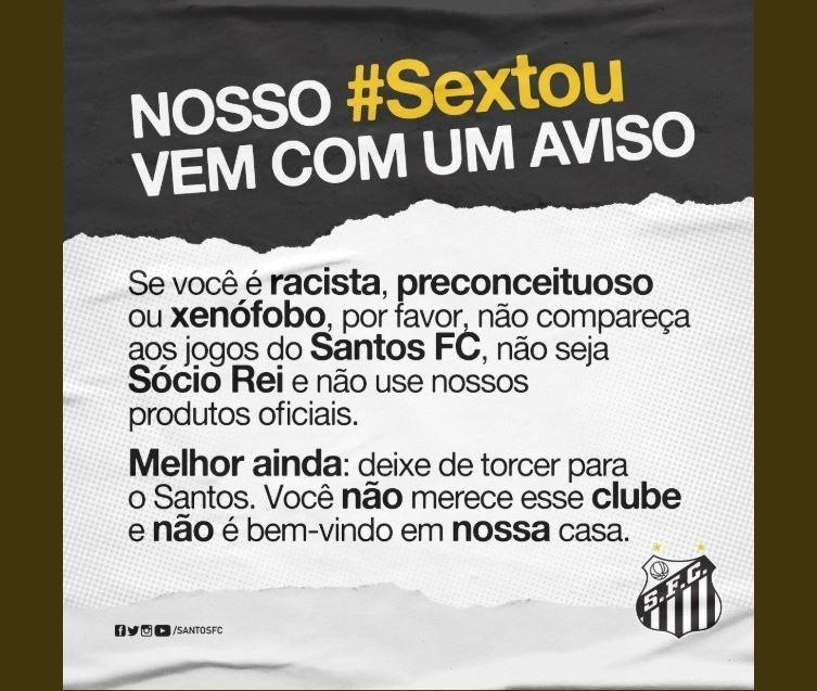 Santos se manifestou depois das lágrimas de Marinho. Não aceita torcedores racistas