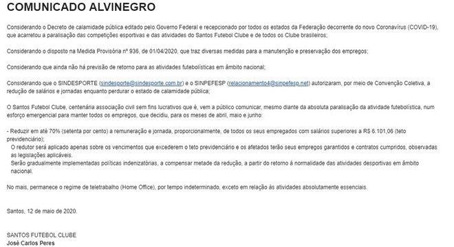 O e-mail que a diretoria do Santos mandou aos  jogadores