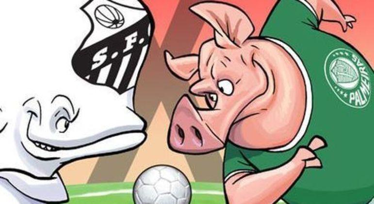 Santos X Palmeiras, numa charge recente