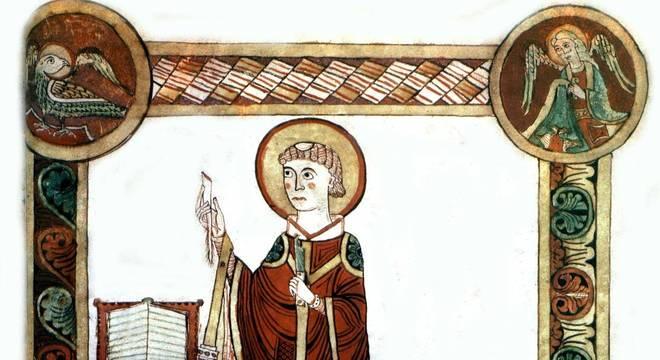 São Beda, o Venerável (673-735), em imagem do século 8