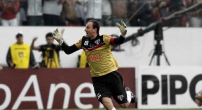 São Paulo 2 x 1 Corinthians, 27/3/2011, Arena Barueri: Ceni festeja gol histórico, o número 100 da carreira (Tom Dib)