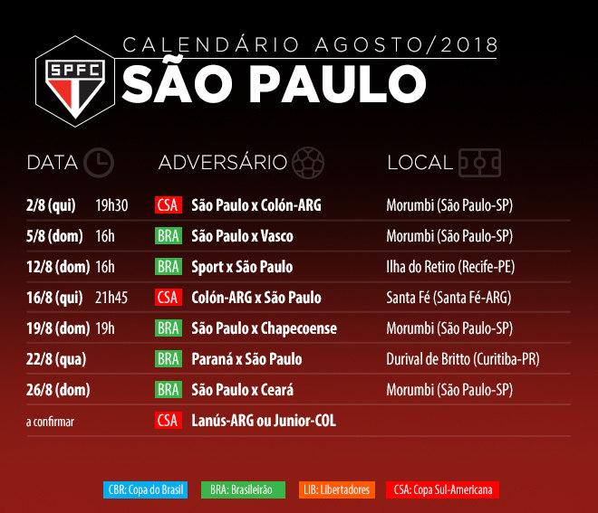 São Paulo de Diego Aguirre tem definições no Brasileirão e na Sul-Americana em agosto