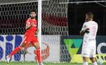 Yuri Alberto, do Internacional, comemora após marcar gol em partida contra o São Paulo