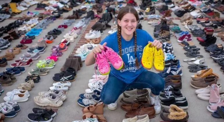 Menina já arrecadou mais de 30 mil calçados