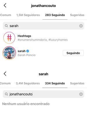 Jonathan Couto volta a seguir Sarah