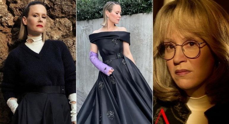 Sarah PaulsonA atriz interpreta Linda Tripp em American Crime Story: Impeachment, série sobre o escândalo envolvendo Bill Clinton e Monica Lewinsky. Durante as gravações, a estrela quebrou o pulso ao escorregar em uma escada e precisou imobilizar o braço