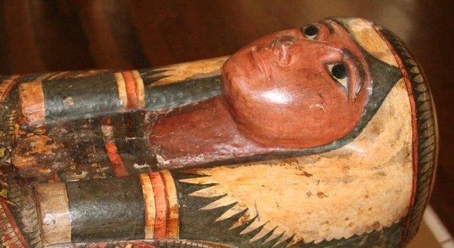 Sarcófago da Dama Sha-Amun-em-su era uma das principais peças da coleção egípcia do Museu Nacional