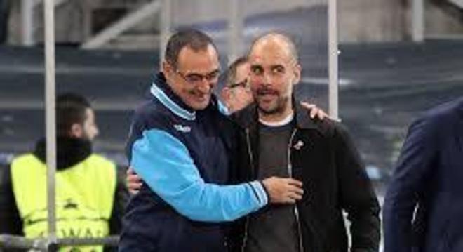 Sarri, com Pep Guardiola