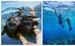 Juntos, a modelo e o cantor mergulharam e fizeram fotos dos peixes e corais coloridos que viram de pertinho debaixo d'água