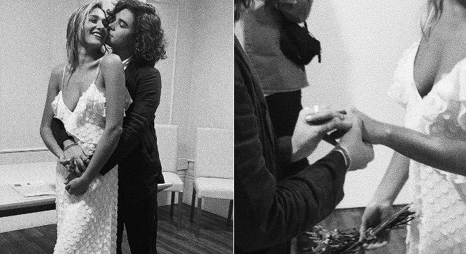 Com fotos em preto e branco, Sasha revelou aos seguidores que se casou