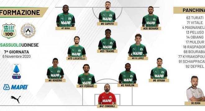 Os onze do Sassuolo que iniciaram o jogo contra a Udinese