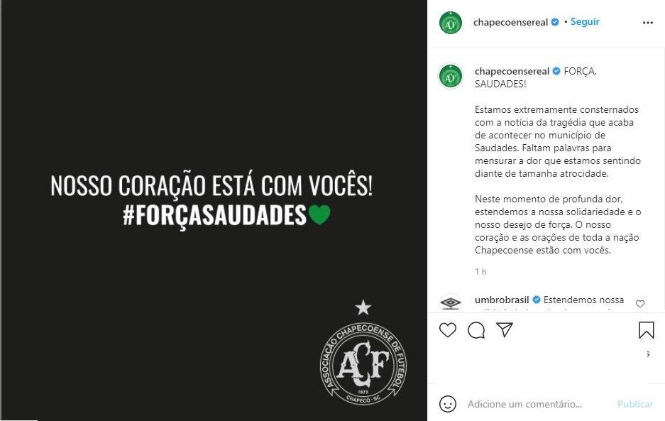 Post da Chape homenageia vítimas de creche em Saudades (SC)